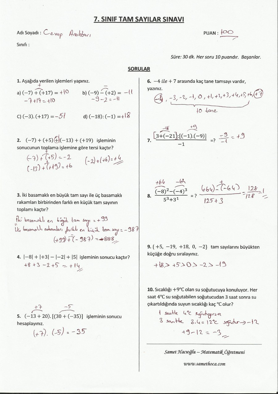 7. Sınıf Tam Sayılar Sınavı CA