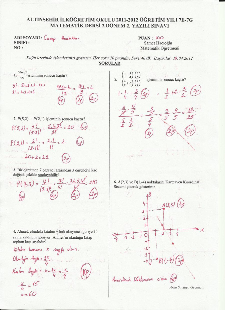 Sınıf yazılı soruları