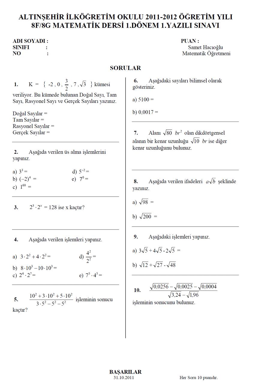 8. Sınıf Matematik 1. Dönem 1. Yazılı Soruları
